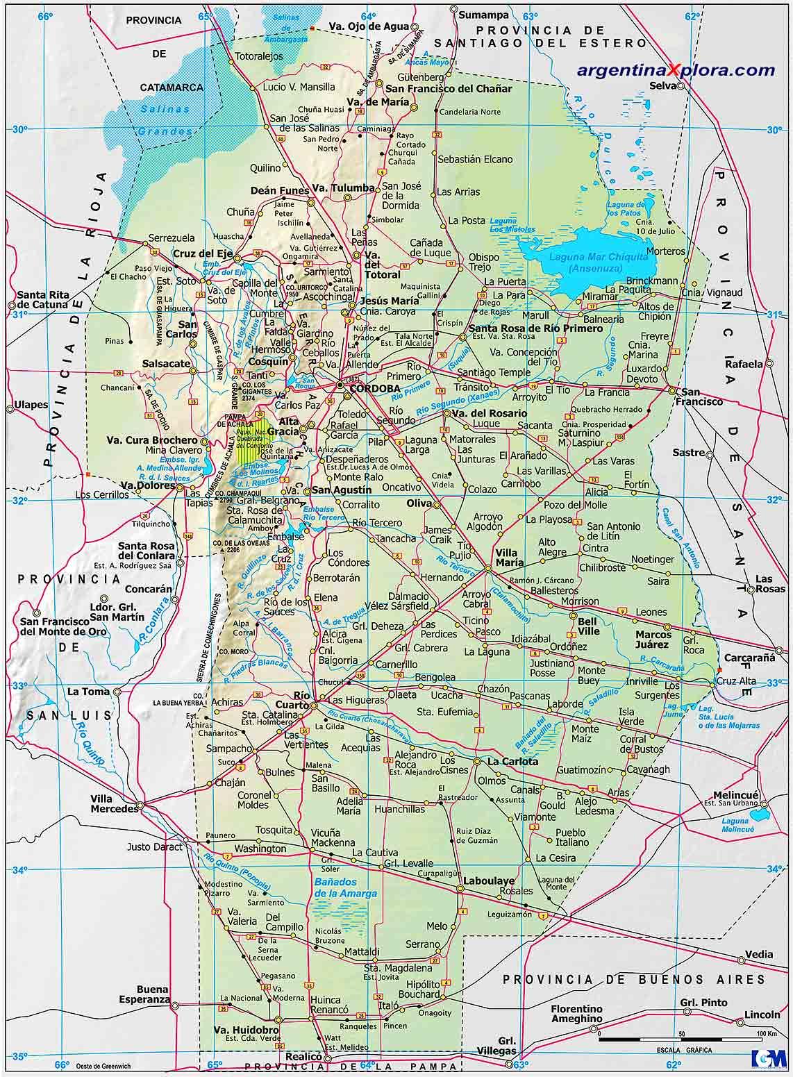 Mapa De Rutas Y Localidades De La Provincia De Cordoba Argentina