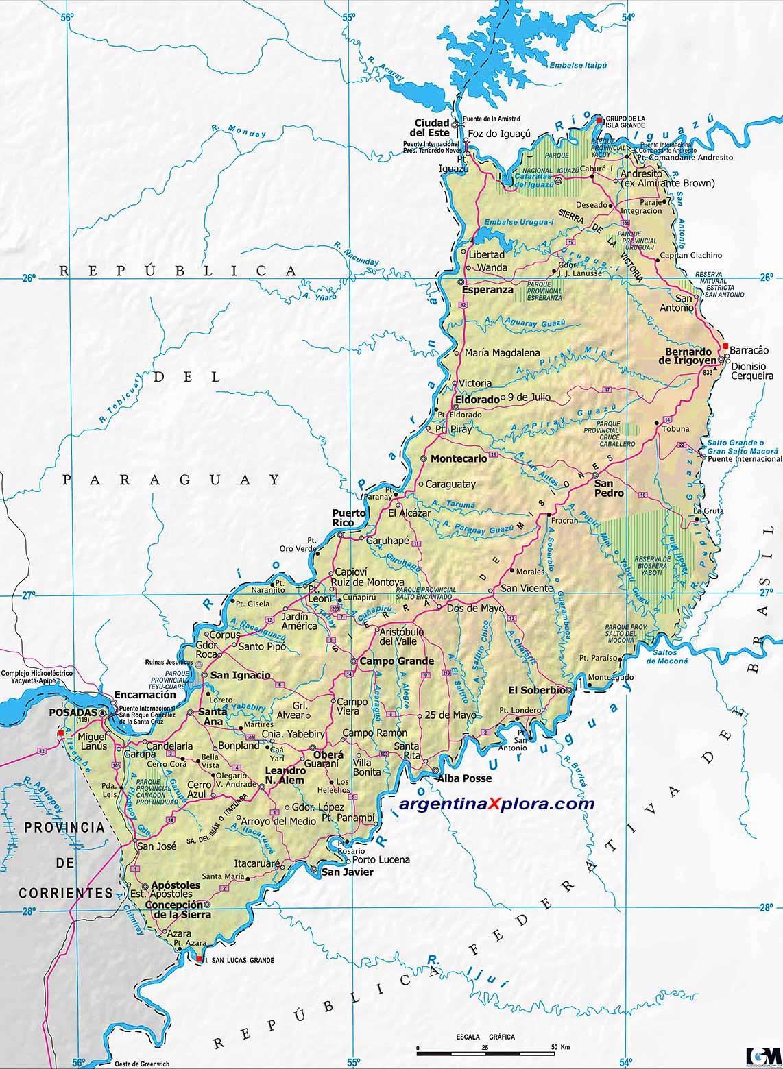 Mapa De Rutas Y Localidades De La Provincia De Misiones Argentina