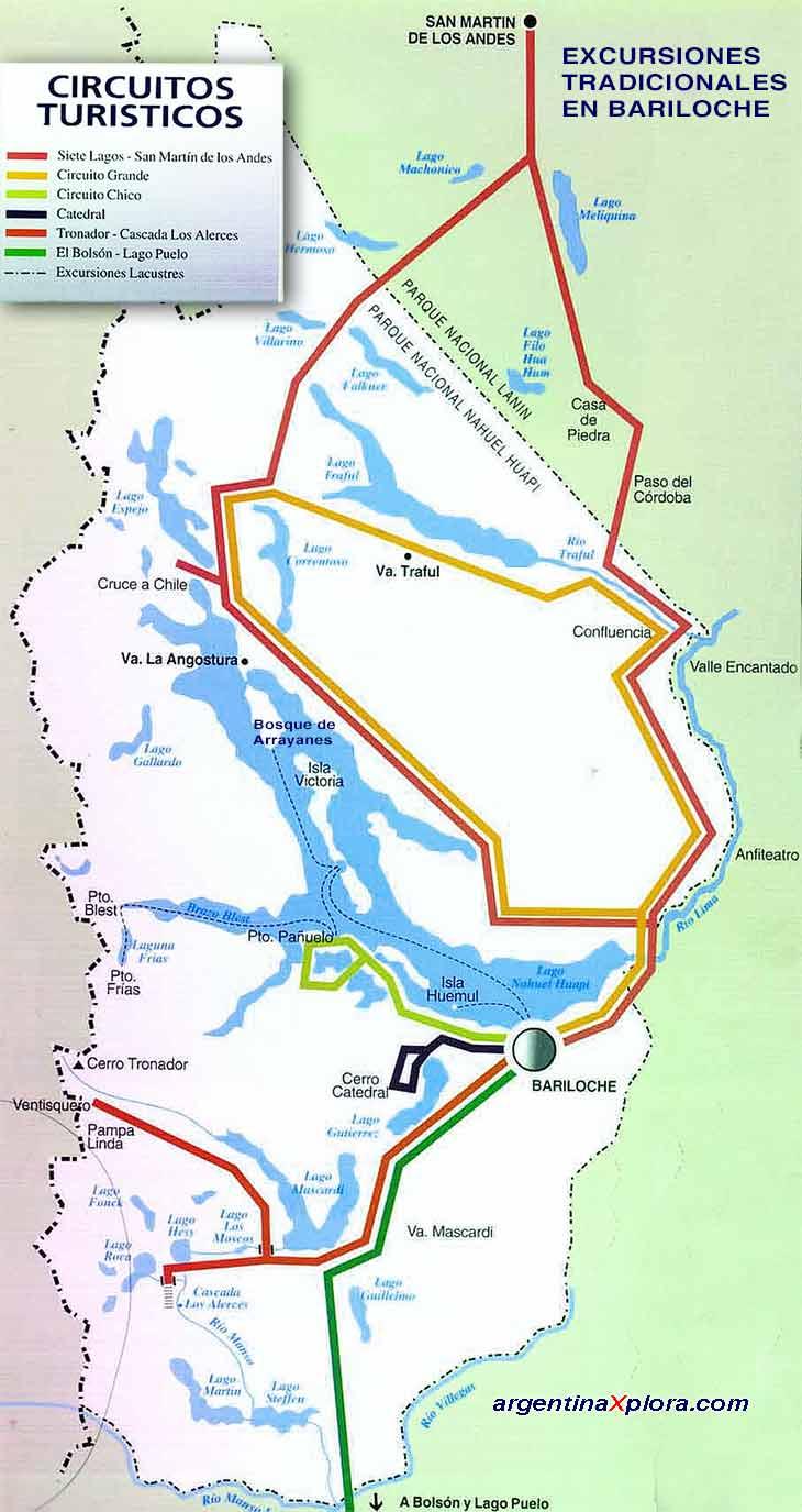 Circuito Grande Bariloche : Excursiones en bariloche mapa